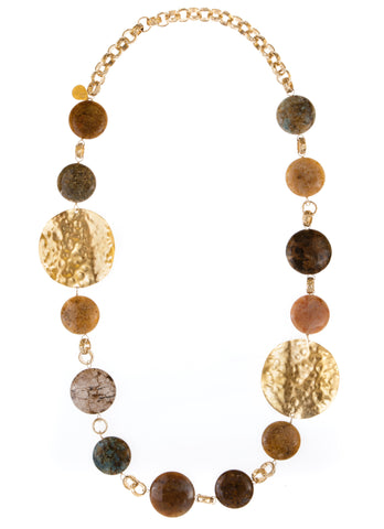 Long Multi Stone Coin and Hammered Gold Medallion Necklace