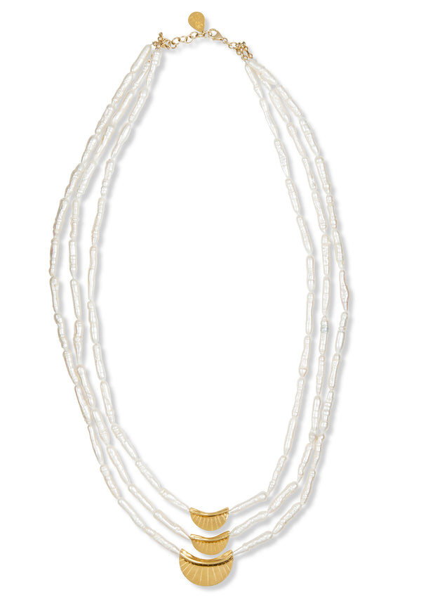 Long Multistrand Pearl and Gold Accent Necklace