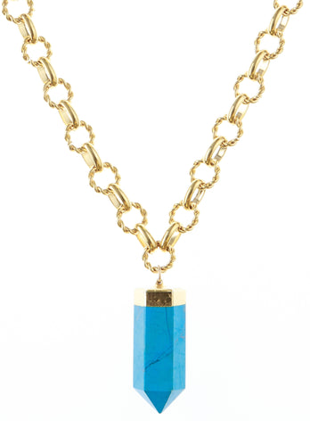 Turquoise Spike in Gold Foil Pendant Necklace