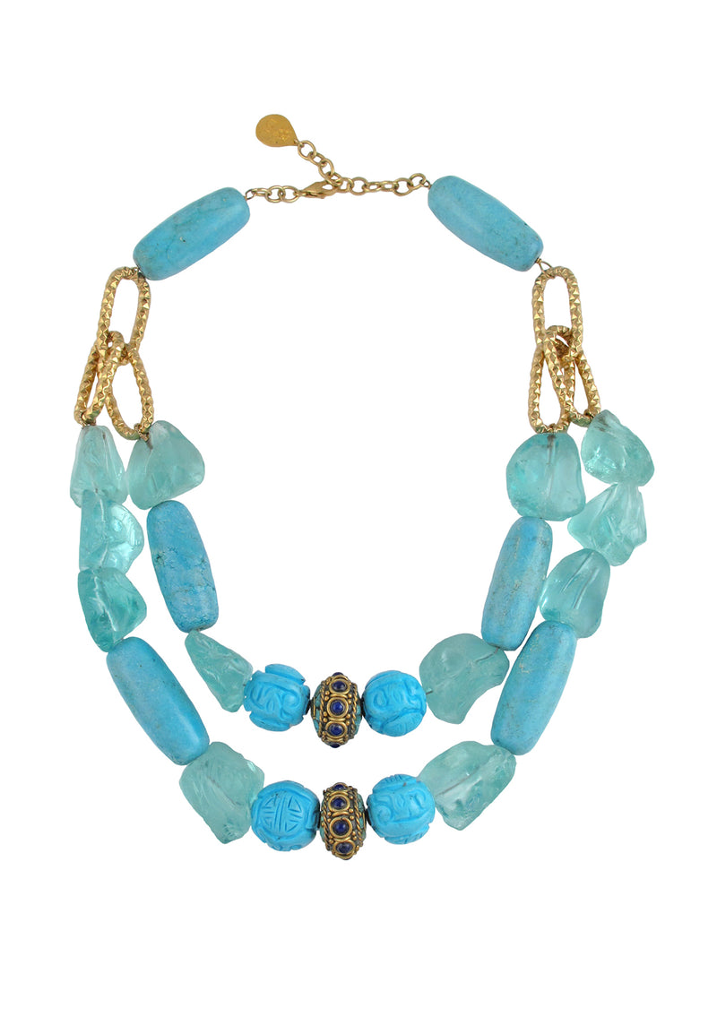 Turquoise Blue Quartz Double Row Necklace