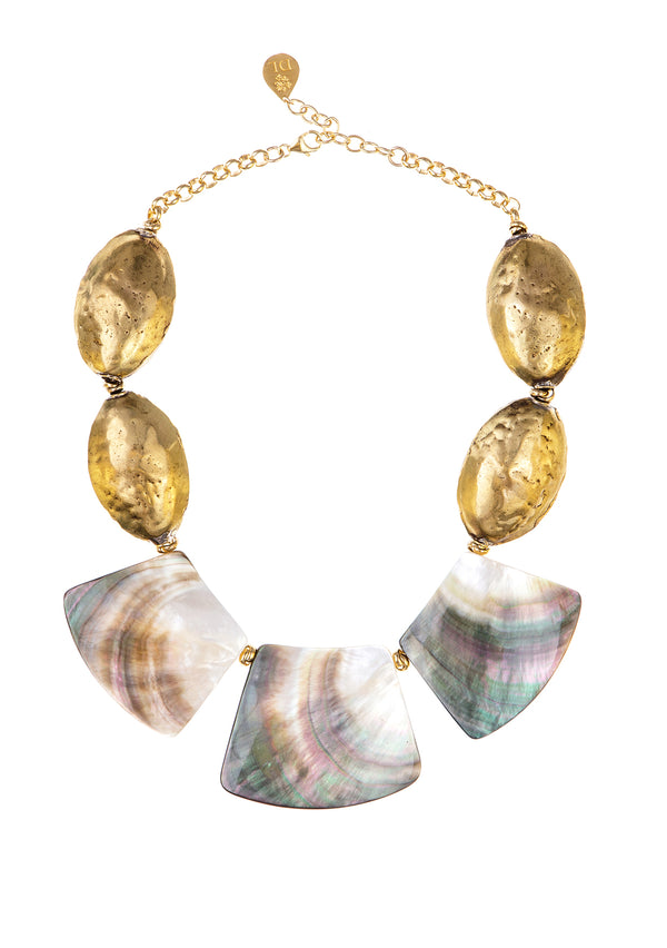 Abalone and Hammered Brass Necklace