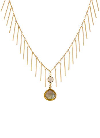 Labradorite Smoky Quartz Gold Fringe Necklace
