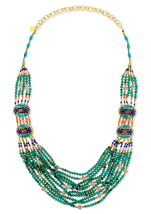Ethnic Multistrand Turquoise Necklace