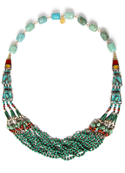 Turquoise Tribal Multi-Strand Necklace