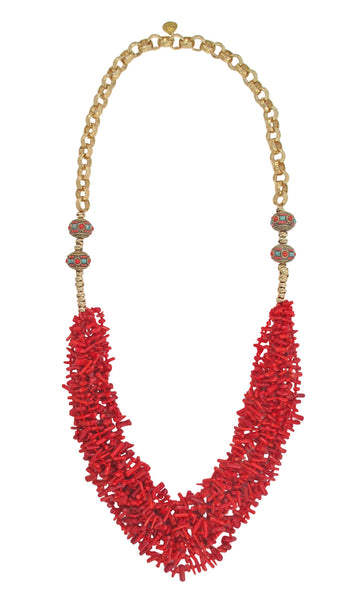Long Multi Strand Red Bamboo Coral Ethnic Necklace