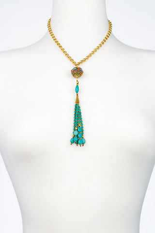 Turquoise Tassel Coral Turquoise Accent Bead Necklace