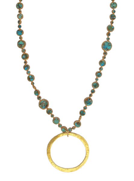 Long Copper Infused Turquoise  Gold Pendant Necklace