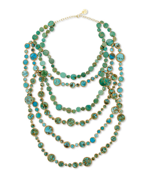 Multistrand Copper Infused Turquoise Necklace