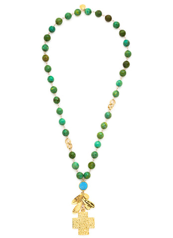 Green Turquoise Gold Cross Necklace