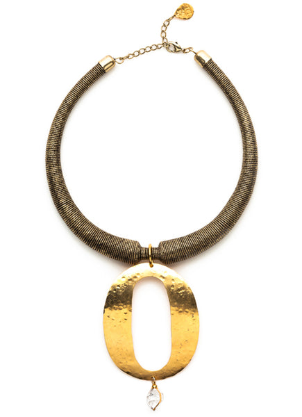 Hammered Gold Dirty Diamond Antiqued Brass Mesh Collar Necklace