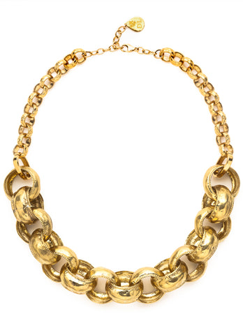 Large Hammered Brass Link Chain Necklace
