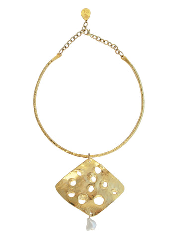 Irregular Gold and Shell Pearl Pendant Necklace