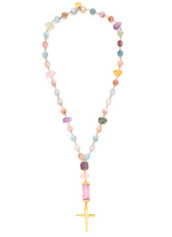 Pastel Multistone Gold Cross Necklace
