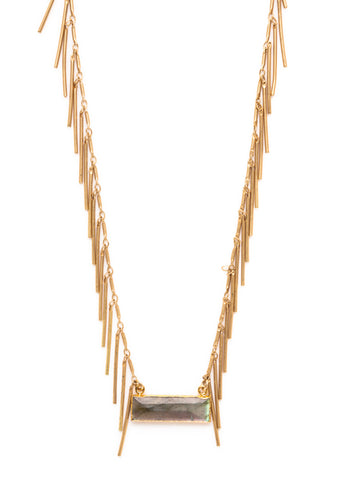 Gold Fringe Gold Foil Bar Pendant Necklace