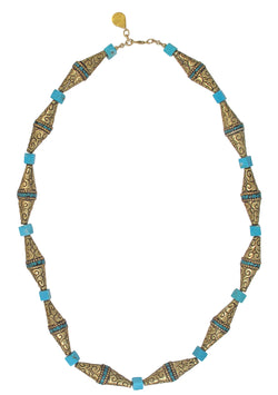 Carved Brass and Turquoise Necklace