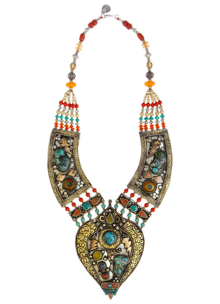 Limited Edition Ethnic Turquoise Multistone Antiqued Brass Necklace