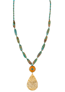 Long Turquoise Amber Gold Pendant Necklace