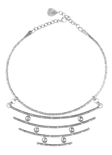 Rhodium Multi Bar Pendant Necklace