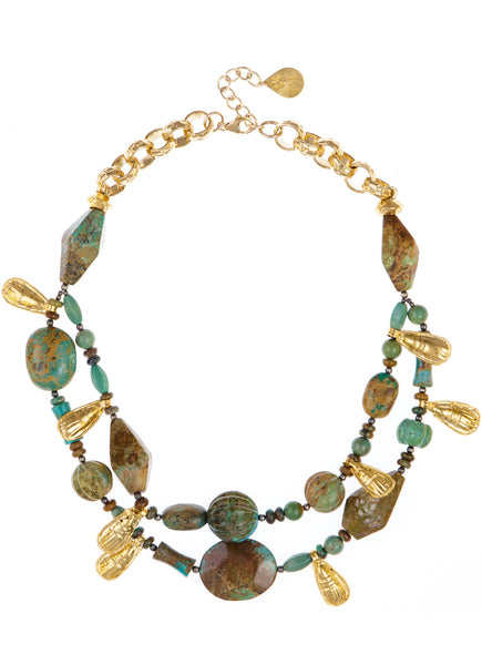 Double Strand Mojave Turquoise Gold Accent Necklace
