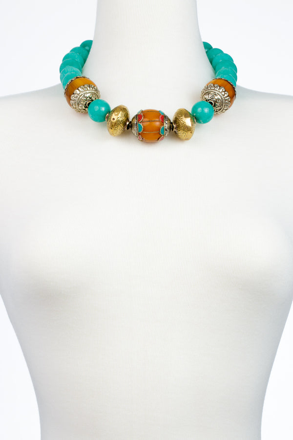 Aqua Jade Amber Brass Bead Necklace