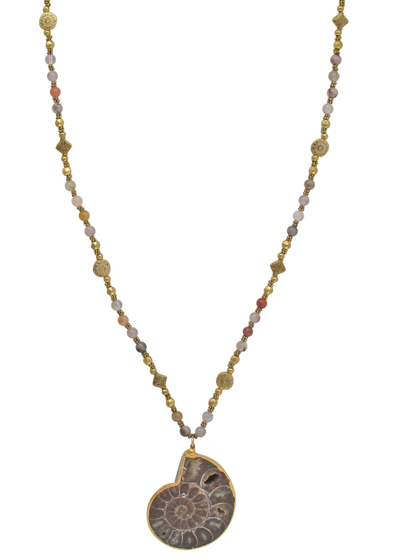 Ammonite in Gold Foil Pendant Necklace