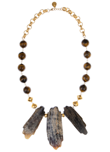 Tiger's Eye Buffalo Horn Pendant Necklace