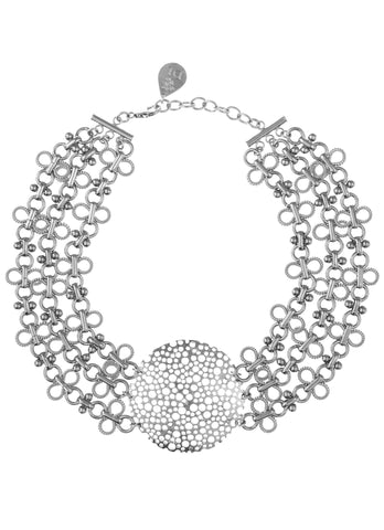 Multi-Strand Chain Medallion Choker Necklace