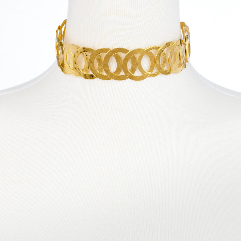 Hammered Flat Multi Circle Gold Choker Necklace