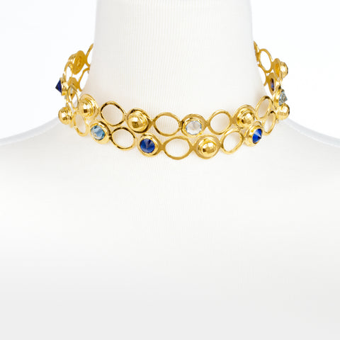 Double Row Metal and CZ Choker Necklace