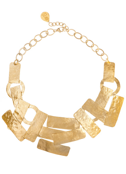 Hammered Multi-Plate Bib Collar Necklace