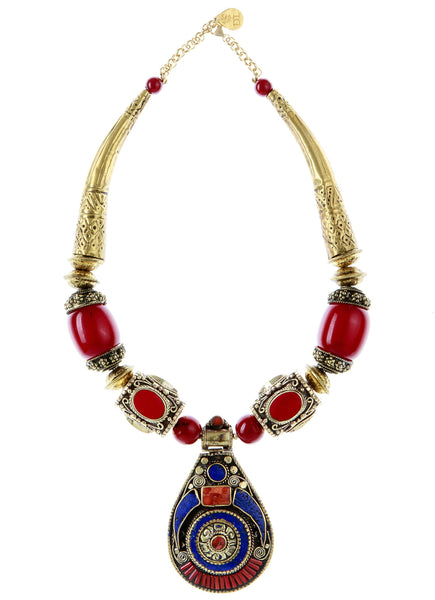Ethnic Lapis Coral Brass Medallion Necklace
