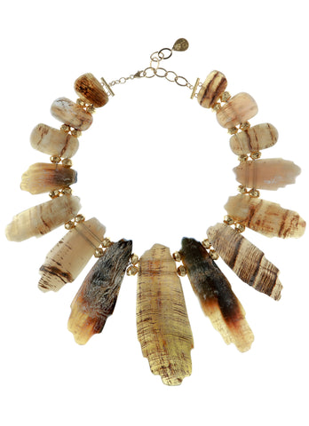 Free Form Buffalo Horn Statement Necklace