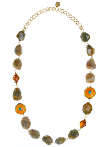 Lodolite Nugget Amber Accent Bead Necklace