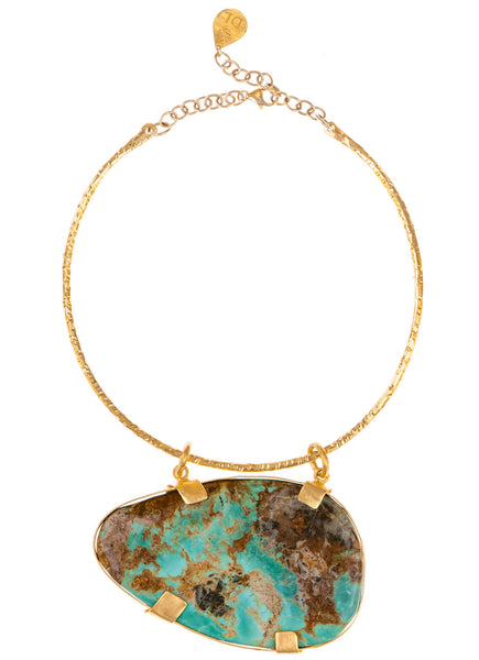 One of a Kind Turquoise Pendant Collar Necklace