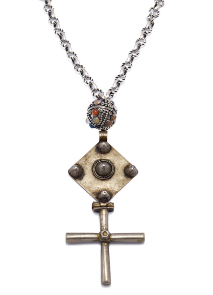 One of a Kind Antiqued Silver Cross Necklace