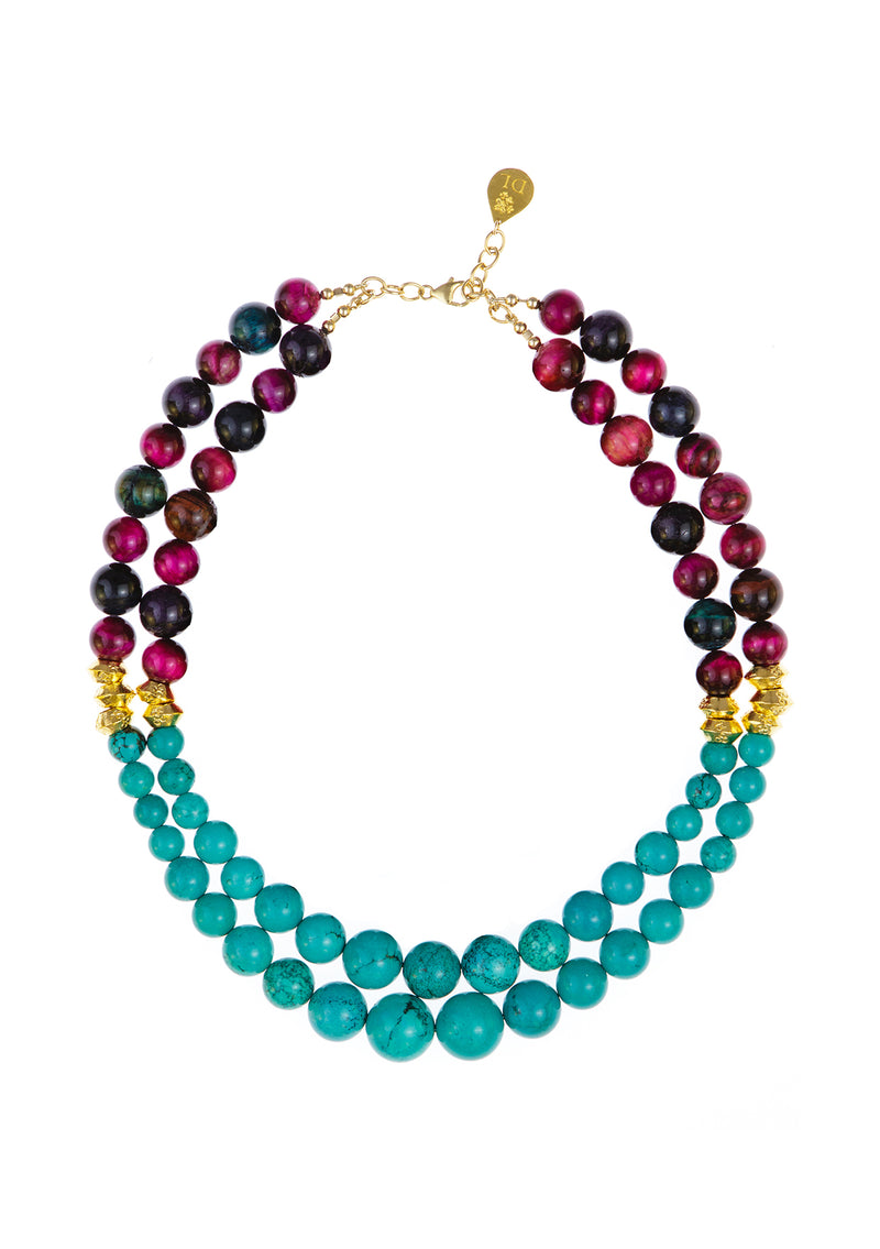 Pink Tiger's Eye and Turquoise Two Tone Multistrand Necklace