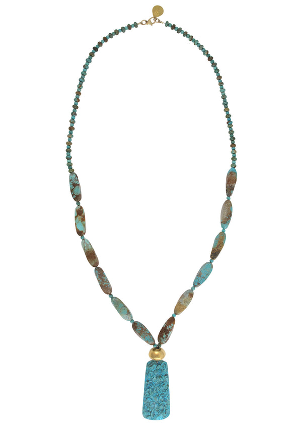 Turquoise Gold Carved Turquoise Necklace