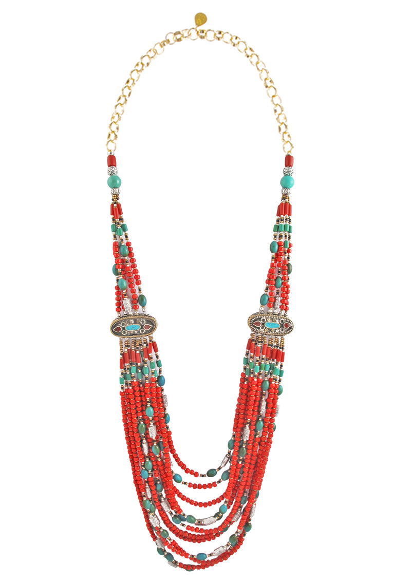 Multistrand Ethnic Coral Turquoise Necklace