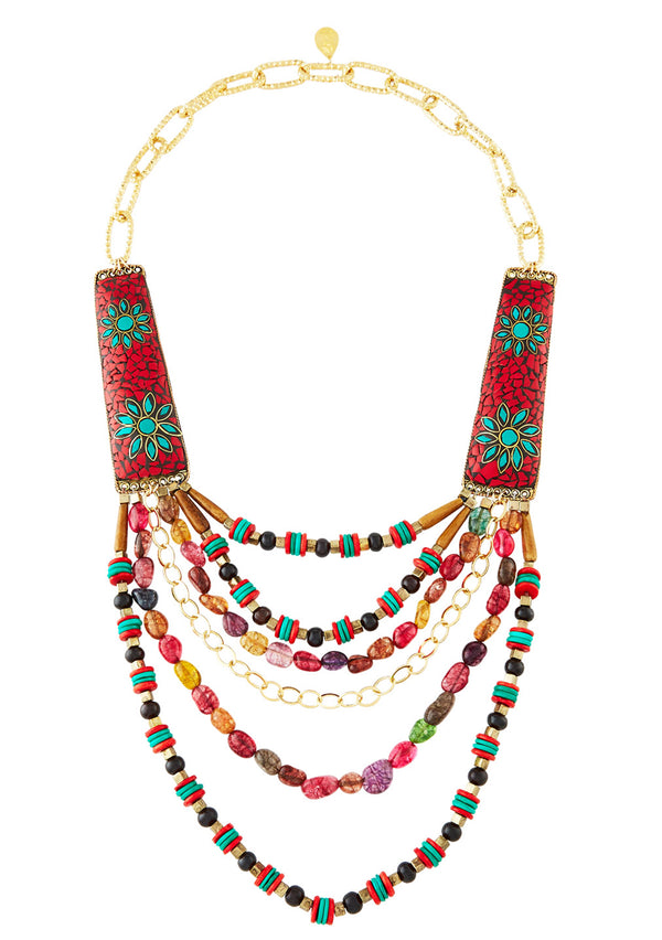 Ethnic Coral and Turquoise Multi Strand Necklace