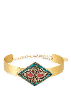 Turquoise Coral Ethnic Medallion Choker
