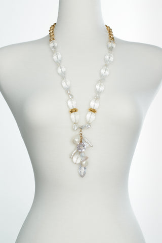 Long Clear Quartz Cluster Necklace