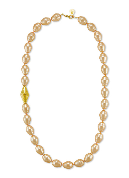 Long Peach Pearl Necklace