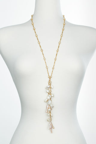 Caged Pearl Cluster Necklace