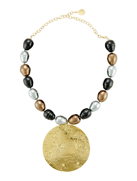 Bronze Silver Black Shell Pearl Gold Medallion Necklace