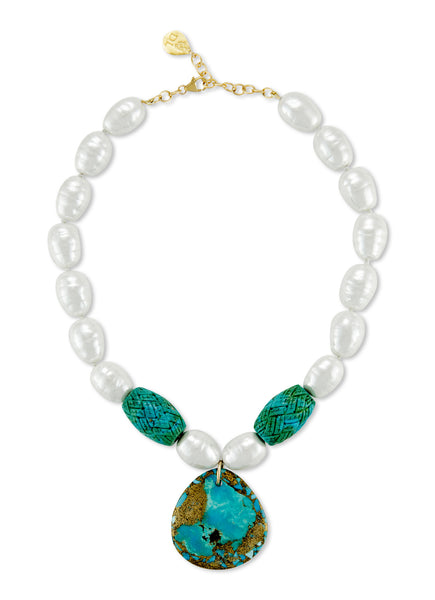 White Pearl and Turquoise Necklace