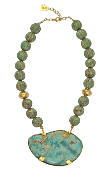 Green Carved Turquoise Campo Frio Turquoise Pendant Necklace