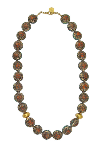 One of a Kind Antique Coral and Turquoise Bead Necklace