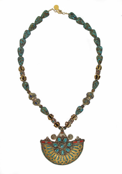 Limited Edition Turquoise and Coral Antique Pendant Necklace