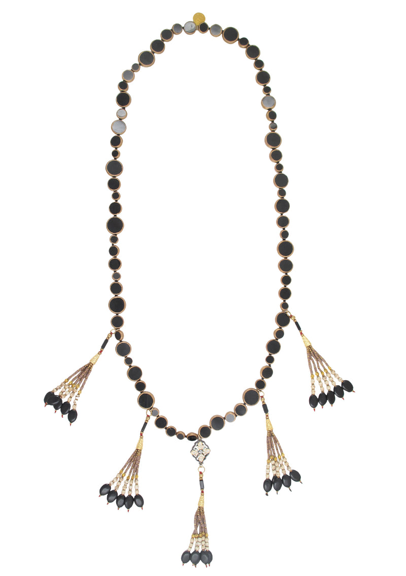 Copper Infused Black Onyx Animal Print Tassel Necklace