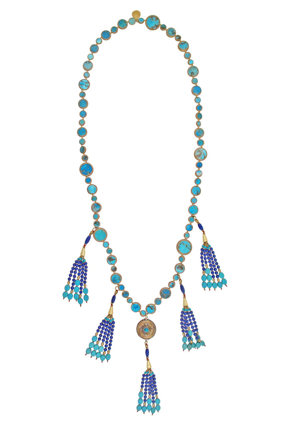 Copper Infused Blue Turquoise Lapis Tassel Necklace